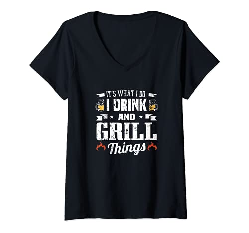Mujer Es lo que hago yo bebo y parrilla cosas divertido ventilador de barbacoa Camiseta Cuello V