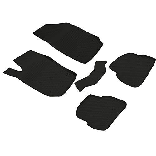 FITMAX Alfombrillas para Volkswagen Polo 6R 2010, Polo 6C 2014, Ibiza 6J 2008, Ibiza ST 6J 2008, Fabia 3 2015, revestimiento de suelo antideslizante, color negro, 5 piezas, 5 piezas, color negro