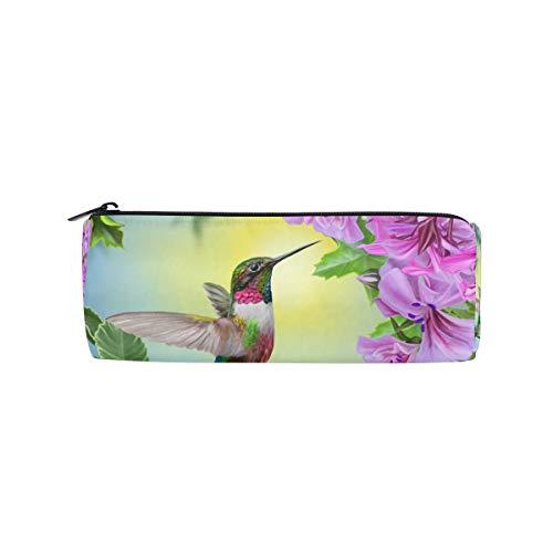 Funnyy - Estuche para lápices con forma de colibrí de pájaros y flores, bolsa con forma cilíndrica para niños y niñas