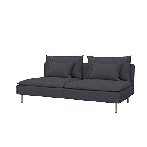 Soferia Funda de Repuesto para IKEA SÖDERHAMN sofá Cama, Tela Eco Leather Grey, Gris