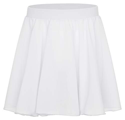tanzmuster ® Ballettrock Mädchen - Eva - Röckchen aus Chiffon zum Reinschlüpfen fürs Ballett in weiß, Größe:164/170