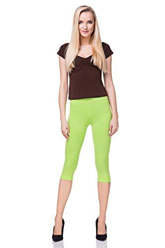 FUTURO FASHION - Leggings mit 3/4-Länge - Baumwolle - extra bequem - Übergrößen - Limettengrün - 42 (XL)