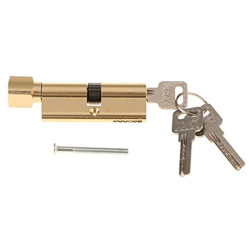 XueMing Cerradura de Cilindro de 90 mm con Pulgar con Giro Cuerpo de aleación de Zinc Acabado Cepillado Bloqueo de Bloqueo Euro Perfil de Cilindro de Bloqueo