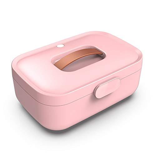 JFSKD draagbare gsm-sterilisator ozon-sterilisator voor ondergoed drievoudige sterilisatie ABS-materiaal 65 ° C heteluchtcirculatie droging tweelaags aseptische opslag, roze