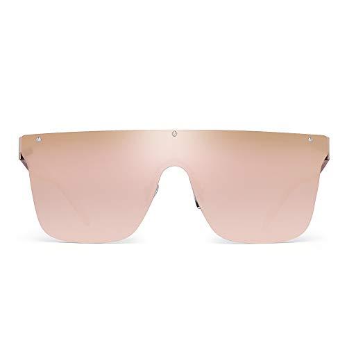 JIM HALO Sin Marco Montura Proteger Gafas de Sol Una Pieza Plano Top Espejo Anteojos Hombre Mujer(Marco Dorado/Lente Rosa Espejo Gradiente)