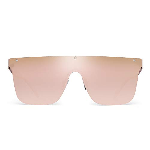 JIM HALO Randlos Schild Sonnenbrillen Ein Stück Flach Top Spiegeln Brillen Damen Herren(Goldrahmen/Gradient Spiegeln Rosa Linse)
