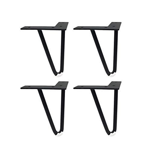 LMZJLU 4 Piezas de Patas de Muebles Pies de Muebles sólidos, Patas de gabinete Patas de Mesa Patas de Mesa Patas de sofá Patas de Metal de Repuesto para Muebles, Negro (12 cm)