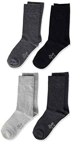 s.Oliver Jungen Socke 4 er Pack, S20205, Gr. 35-38, Mehrfarbig (49 grey combi: light grey, dark grey, anthracite, black)