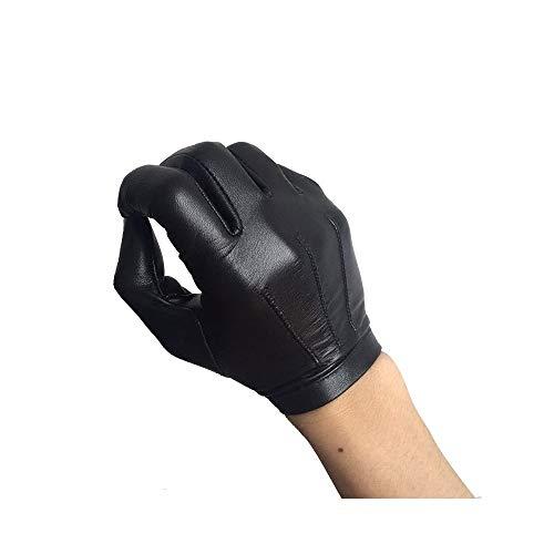 Lederhandschuhe Ziegenleder-Handschuhe Männer Fahren dünnen Abschnitt einschichtigen Touchscreen Lederhandschuhe Winter Plus Samt warme Lederhandschuhe benutzerdefinierte (Color : Black, Size : S)