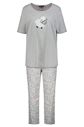 Ulla Popken Damen große Größen Pyjama, Schaf Nachthemd, Grau (Hellgrau-Melange 72797013), 58-60