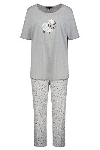 Ulla Popken Damen große Größen Pyjama, Schaf Nachthemd, Grau (Hellgrau-Melange 72797013), 42-44
