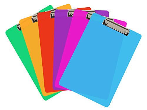 6 Coloured Plastic Clipboards   Strong 12.5 x 9 Inch (A4 Size) Multi Pack Clipboard   Holds 100 Sheets!   Acrylic Clipboards with Low Profile Clip & Heavy Duty Clip Boards   UK Brand