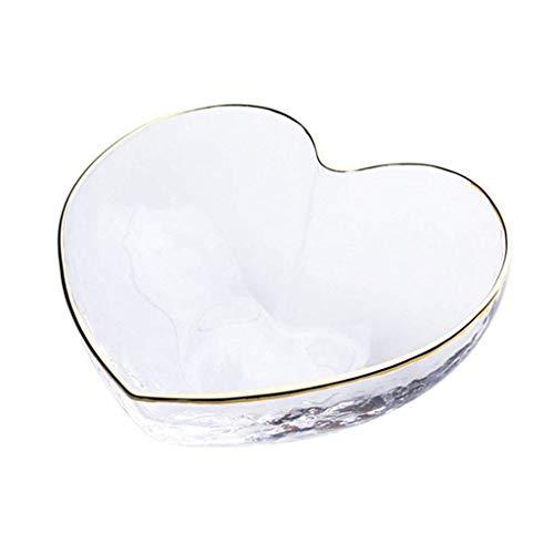 Tazón Ensalada Glass Bowl Noodle Bowl servidor cuenco de cristal del hogar Ofrecemos servicios Ensaladera Phnom Penh tazón en forma de corazón de cristal tazón de vidrio, transparente, 9 * 8 * 4.2cm P