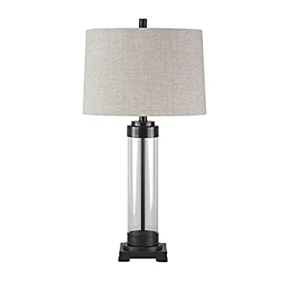 Signature Design by Ashley L430164 Talar Contemporary Glass Table Lamp with Drum Shade, Clear/Bronze Finish