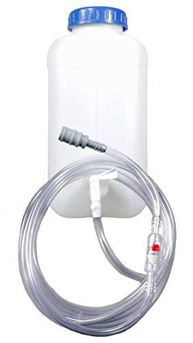 Fallwasserbehälter 10l mit Auslaufhahn, Fließanzeiger mit Filter, Schlauch (4m) und Kupplung