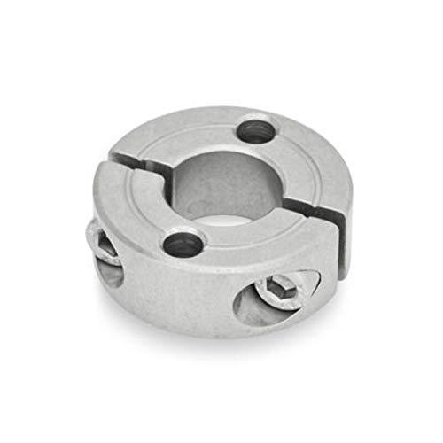 Edelstahl-Stellring, geteilt, Innendurchmesser 20mm / zwei Durchgangsbohrungen