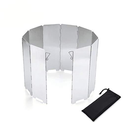 LRIO Windschutz Gaskocher Faltbar Aluminium Windschutz Campingkocher mit 10 Lamellen aus Aluminium, Leichter Faltbarer Windschutz, Windschutzscheibe Windscreen für Camping Kocher Outdoor Grill