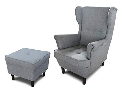 Ohrensessel Sessel King - Lounge Sessel mit Armlehnen - Retro Stuhl aus Stoff mit Holz Füßen - Polsterstuhl für Esszimmer & Wohnzimmer (Grau (Inari 91), mit Hocker)