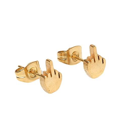 Aiasiry Pendientes de botón de Dedo Medio Punk Pendientes de botón de Acero Inoxidable creativos para Mujeres y Hombres (Dorado)