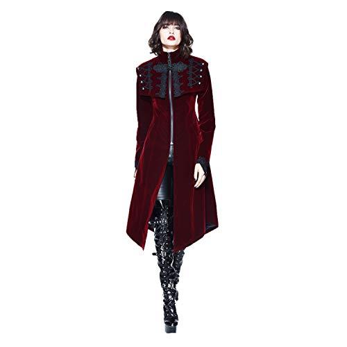 Devil Fashion Women Gothic Vintage Velvet High Collar Long Tailcoat Cape for Party (Wine Red, L)