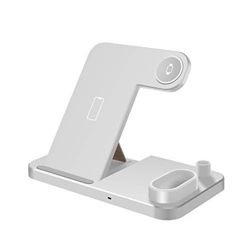 CMDZSW Cargador inalámbrico 4 en 1 QI 10 W Soporte de carga rápida para iPhone 12 11 x xs xs xs max 8 para Apple Watch 6 5 4 3 2 AIRPODS PRO (Color : Style A White)