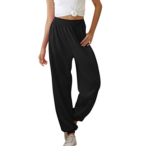 Pants 2DXuixsh Women's Active High Waisted Lightweight Baggy Workout Sweatpants Joggers Lounge Sportswear with Pockets Black