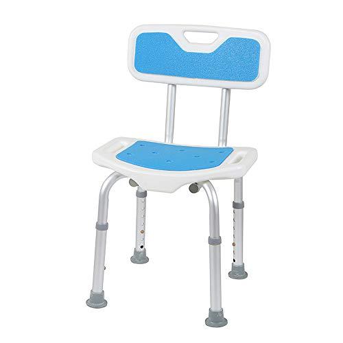 YL WELFARE バスチェア シャワーチェア 介護用品 入浴用 高齢者&障害者&妊婦入浴補助用具 背もたれ付き お風呂 椅子 柔らかいクッション付き 7段階高さ調整可能(背もたれ付きブルー)