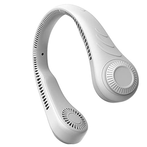 Ventilador de cuello portátil Manos libres USB recargable 3 velocidades Mini ventilador colgante Ventiladores de cuello portátiles para el hogar, informal, compras, camping, al aire libre