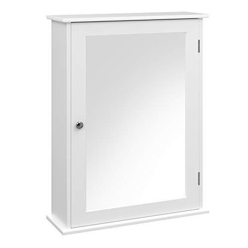 VASAGLE Spiegelschrank fürs Bad, Wandschrank, Badschrank mit höhenverstellbarer Regalebene, Hängeschrank, Badezimmer, 41 x 14 x 60 cm, weiß LHC001
