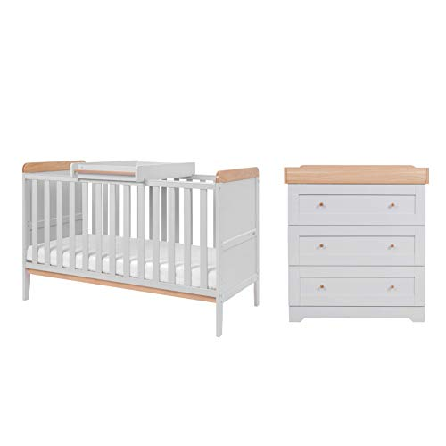 Rio Nursery Furniture Set (2 Piece) | Tutti Bambini | Convertible Baby Cot Bed and Chest of Drawers Changer | Solid Wood Furniture (Dove Grey/Oak)