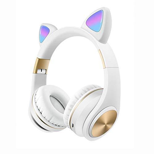 SFBBBO Headset Kinder Wireless Kopfhörer Bluetooth Over Ear Headset Stereo Kopfhörer Mit Mic Wired Headset Gamer weiß
