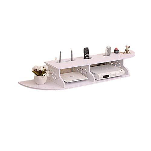ZLJ Estante Flotante Set-Top Box Estante Router Caja de Almacenamiento Rústico Vintage Madera/PVC Estantes de Almacenamiento de Pared Estantes flotantes Blancos Estantes de Pared Flotante (Col
