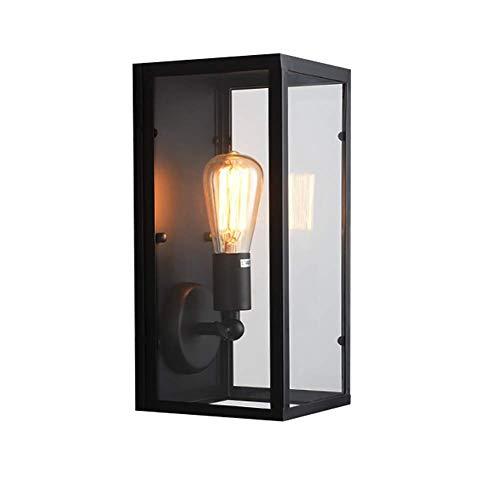 Retro zwart metalen vierkante glas lampenkap voor muur antieke vintage E27 interieur Renovatie mediterrane stijl restaurant Aisle veranda lantaarn