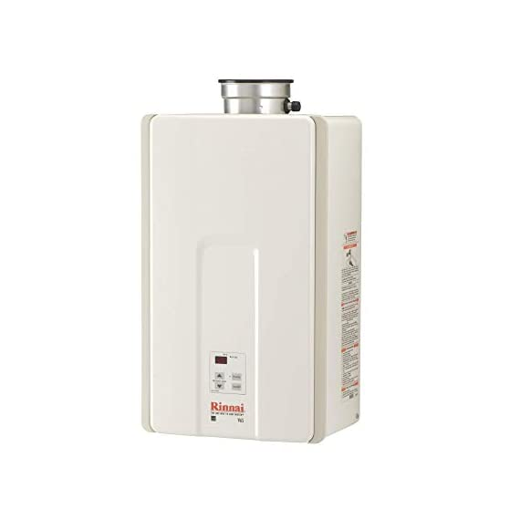 Rinnai Indoor Tankless Hot Water Heater, V65iP, Propane, 6.3 GPM, White 1 V65iP HE High Efficiency Tankless Hot Water Heater - Propane: Indoor Installation Only Up to 6.5 GPM hot water flow rate (varies by groundwater temp) Control-R 2.0 mobile app features timers and schedules throughout the day and allows you to remotely put the system into vacation mode.