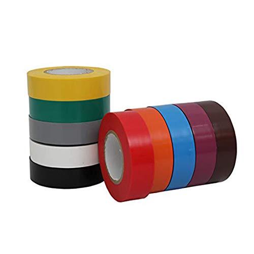 WELSTIK 10卷10色入電気絶縁テープ ハーネステープ 耐熱 テープ 粘着テープ ビニルテープ x 20m
