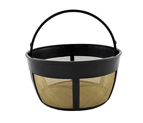 NRP Basket Mesh Bottom 10 tazas Filtro permanente de café universal para cafeteras de goteo tono dorado | Compatible para Breville BDC, Mr.coffee, Cuisinart GTF-B, Hamilton Beach, CRUX y más