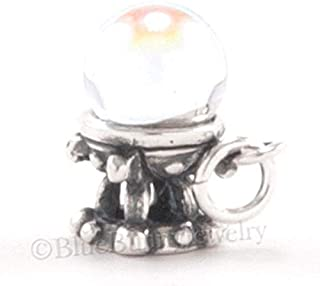 Crystal Ball Charm Stand 925 Sterling Silver Halloween Fortune Teller Pendant 3D DIY Crafting by Wholesale Charms