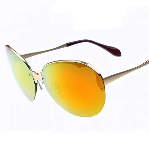 N/A Gafas de Sol para Hombre Gafas de Sol para Mujer Nuevas Gafas de Sol Medio Marco Moda para Mujer Gafas de Sol de Metal Retro Gafas de Sol Película de Color Reflectante