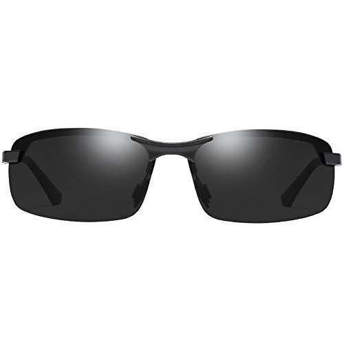 Hancoc Gafas de sol polarizadas de metal de media montura para hombre, color negro y azul (color: negro)