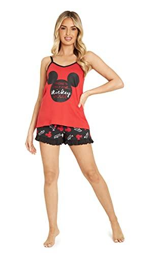 Disney Pijamas Cortos De Mujer, Conjunto De Algodón para Verano De Mickey O Minnie Mouse, Pijama con Camiseta Tirantes Mujer y Shorts, Regalos para Mujer XS-XL (Rojo/Negro, L)