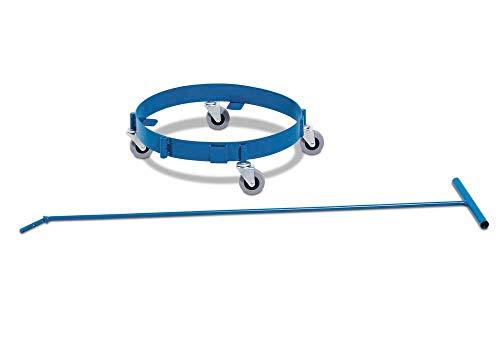 DENIOS Fassroller aus Stahl, pulverbeschichtet, blau, für 60 Liter Fässer, inklusive Zugstange zur ergonomischen Handhabung, 4 Lenkrollen, 4 stabile Haken zur Halterung