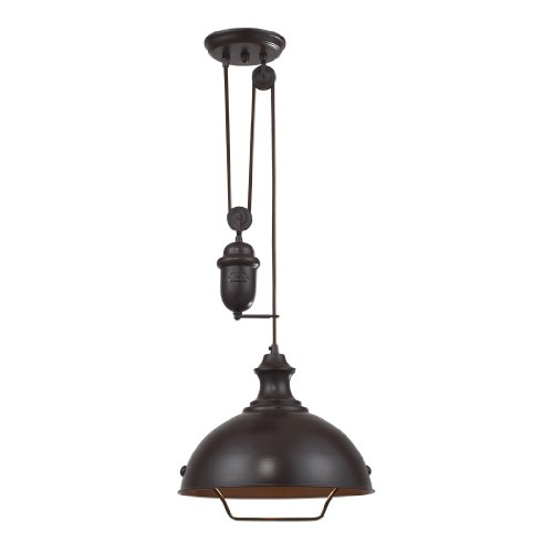 Elk 65071-1 14-Inch Farmhouse 1-Light Pendant, Oiled Bronze