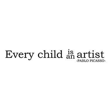 Wall Decal Quote Every Child Is An Artist Pablo Picasso Inspirational