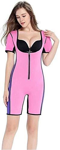 Traje de Sauna para Bajar de Peso, Traje de Gimnasio y Chaleco de Entrenamiento térmico, cinturón Reductor de Abdomen de Neopreno para Ajuste Deportivo (Color : Pink, Size : XXL)