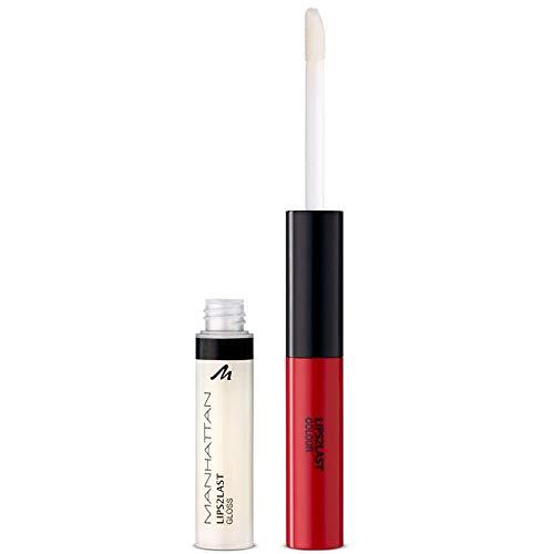 Manhattan Lips2Last Colour&Gloss, Lippenfarbe und Lipgloss in einem, Farbe Glam Red 45A, 1 x 8ml