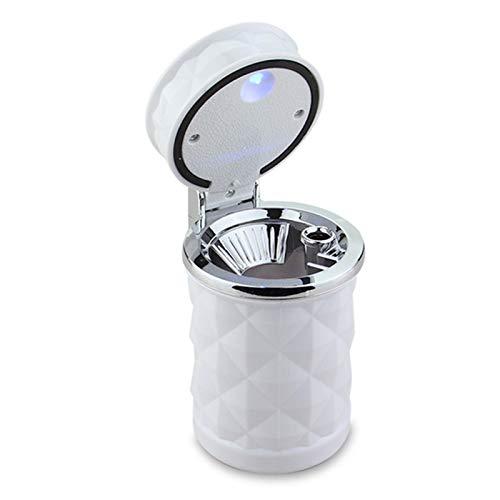 ZZDH Cenicero de Coche Coche portátil LED LED Cenicero Cenicero Cigarro Universal Cilindro Caja de Almacenamiento automático con Luz Led con Tapa (Color : White)