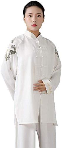 AZWE Traje de Tai Chi Uniforme Kungfu Traje de entrenamiento de artes marciales Unisex Artes marciales tradicionales Cómodo transpirable, bordado Confort transpirable,Blanco,S