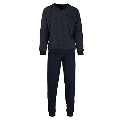 Götzburg Herren Pyjama, Langarm, Baumwolle, Single Jersey, Navy, gestreift, mit Bündchen 48