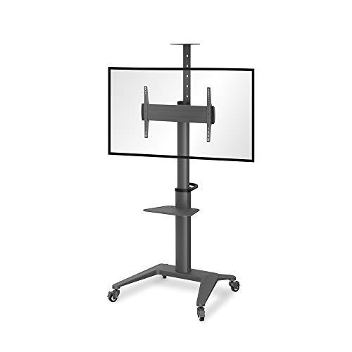 conecto LM-FS02NB Pro TV Ständer Standfuß rollbar Universal für Monitor Fernseher LCD LED Plasma mobil mit Rollen höhenverstellbar schwenkbar drehbar 37-70 Zoll VESA 200x200-600x400mm Alu schwarz