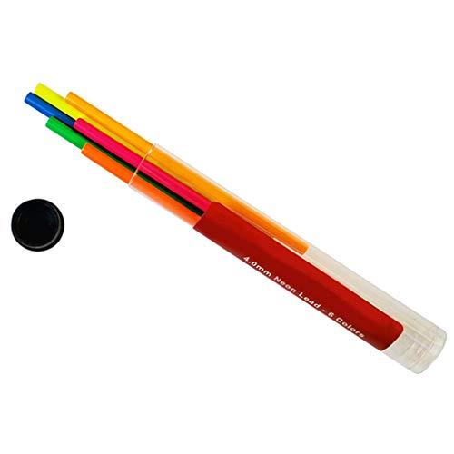 Bolígrafo mecánico de carbón de leña de 4,0 mm de grosor, color de neón y plomo de 6 colores de boceto borrable lápices recargas